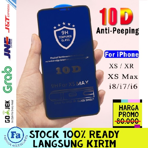 T10-02 SPY 10D Anti spy peeping full cover tempered glass for iPhone XR Privacy STRDY