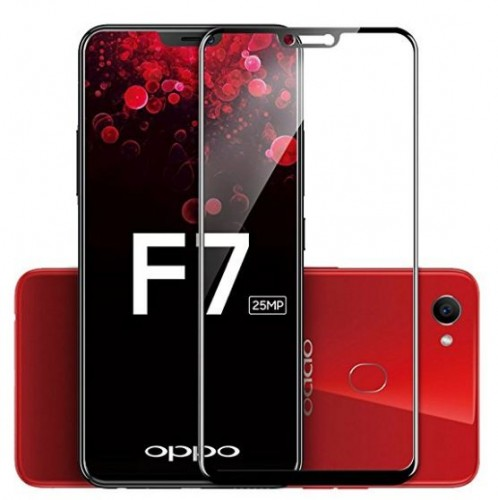 Tempered Glass Oppo F7 / Full Body / Full Lem Anti Gores Kaca