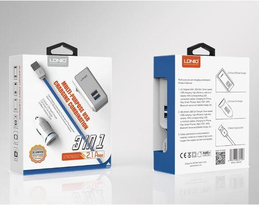Charger Rumah + Saver Mobil LDNIO S100 + 1 Meter Kabel Micro USB