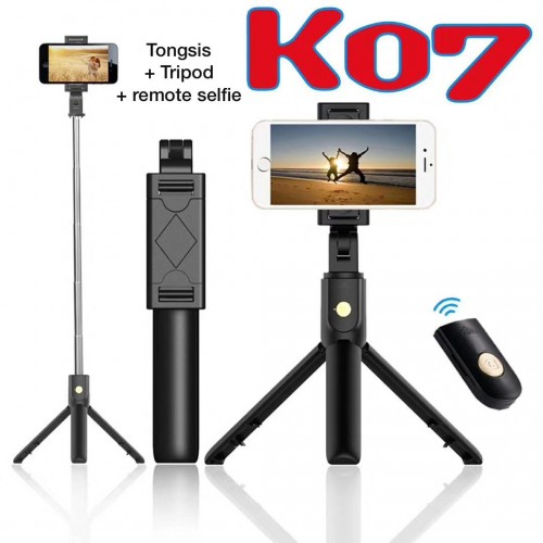 K07 - Tripod 2 IN 1 / Mini Dekstop Tongsis Tripod Selfie Stick Plus Tombol Selfie
