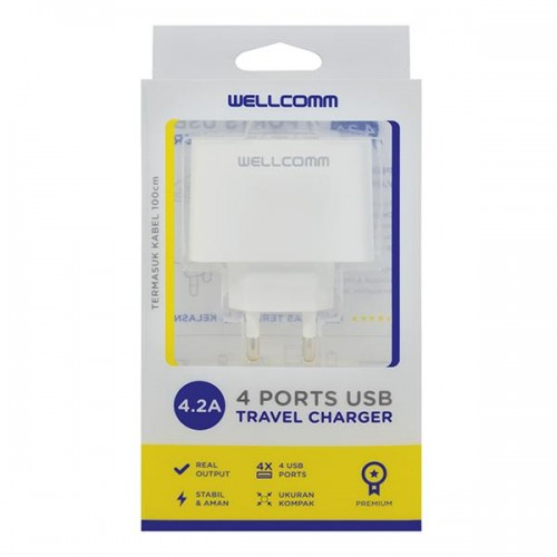 TC Charger / Batok Adaptor USB 4 Output - 2 Ampere / WellComm Multi Port Charger