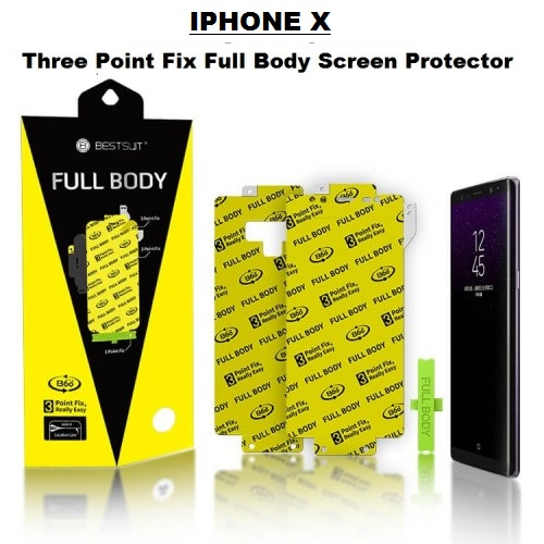 Anti Gores Iphone X - Model 3 Point Fix Easy Install Full Set 2 in 1 / Full Body Curved / Bestsuit