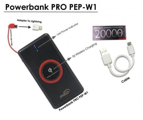 Power Bank Pro Slim Wireless PEP-W1 LED 20000 mAh
