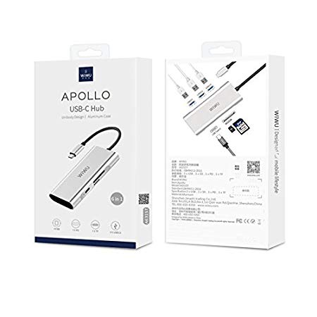 HUC-004 - Original WIWU APOLLO A731TH 7 In 1 Aluminium USB Type-C Adapter Hub
