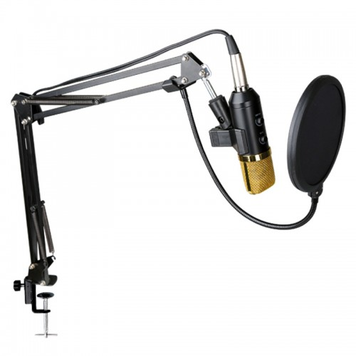 MIC-005 Rekaman MIC Profesional BM-800 Upgrade CONDENSER ARM Stand Mic + TRIPOD + Pop Filter / Pro Microphone Kit Karaoke Bundel Mikrofon Studio