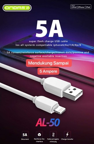 ONDA AL-50 Kabel Data USB Micro Fast Charging 5A 120Cm Fast Charging Quality Trusted Bahan Tebal