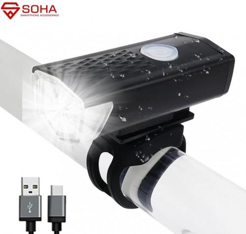 ASP-001 Lampu Depan Sepeda / LED Bike Light Lamp FlashLight Bicycle Micro USB Battery Rechargeable / SENTER SINAR TERANG Baterai Pakai Charge