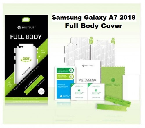 Anti Gores Samsung Galaxy A7 2018 - Full Set 2 in 1 / Full Body Curved / Depan dan Belakang 0.2 mm
