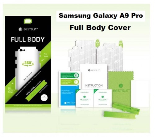 Anti Gores Samsung Galaxy A9 Pro 2016 Full Set 2 in 1 / Full Body Curved / Depan dan Belakang 0.2 mm