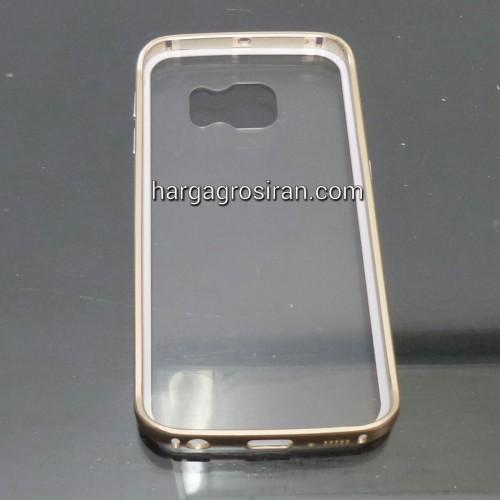 Bumper Aluminium Case + Belakang Transparan Samsung S6 Edge