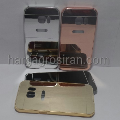 Bumper Mirror Samsung Galaxy S7 Flat - Bumper Kaca Plus Tutup Cover Belakang