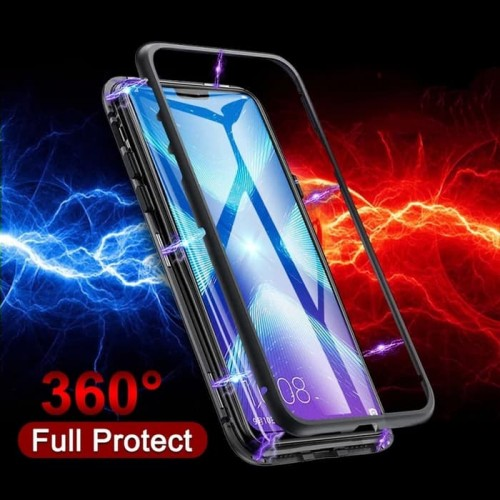 Vivo S1/IQOO Neo Bumper Aluminium Magnet Case 360 Tempered Glass Back Cover Bahan Kaca