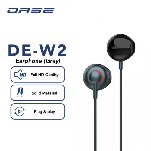 OASE Earphone DE-W2 Suara HD Audio, Anti Slip Design Kualitas Bagus Packing Exclusive Bahan Tali sepatu Kuat