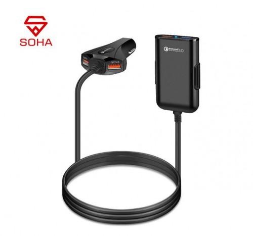 SOHA SVM-002 Saver Mobil / Car Charger Fast Charging 3.A Total 4 Port Buat Penumpang Belakang