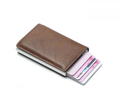 Dompet Kartu Anti RFID Bahan Aluminium Kulit Otomatis Dengan Klip Uang - Coklat