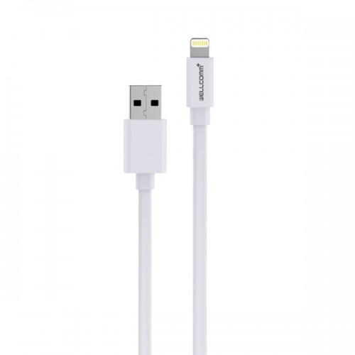 Kabel Wellcomm Iphone 5 - 1.5 Meter For Apple -  Gepeng / Flat - Bisa Buat Data / Charger