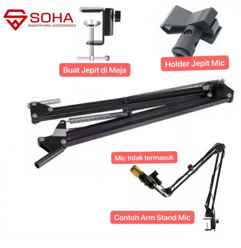 HDR-005 Arm Stand Mic Holder 360 Degree Karaoke Condenser Microphone Youtuber Suspension Recoding Holder for Sound record