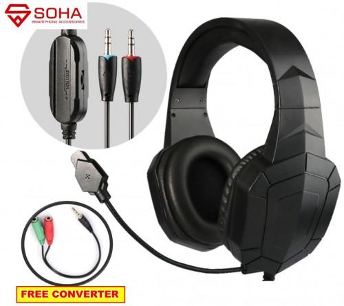 HGM-001 SOHA S-X30 Headphones Bando Gaming / Headset Kabel PC & Free Konverter ke Smartphone / earphone Stereo PC Wired