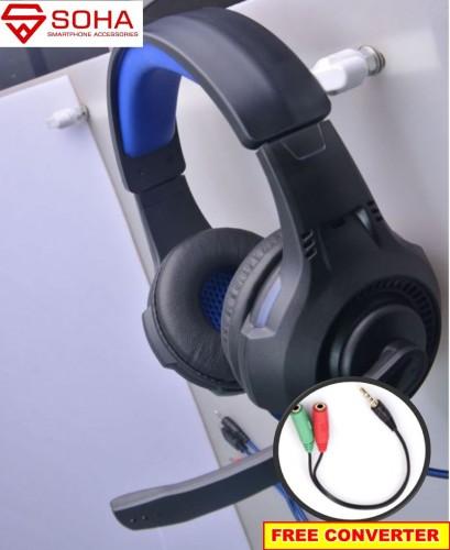 HGM-002 SOHA S-Q91 Headphones Bando Gaming / Headset Kabel PC & Free Konverter ke Smartphone / earphone Stereo PC Wired Ada Lampu LED nya