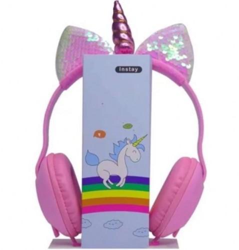 HGM-009 Headset Sequin Unicorn Karakter / Kids Handset Kabel Cartoon Bando Ada Telinga Glitter dan Tanduk Unicorn  Earphone Bass Sound