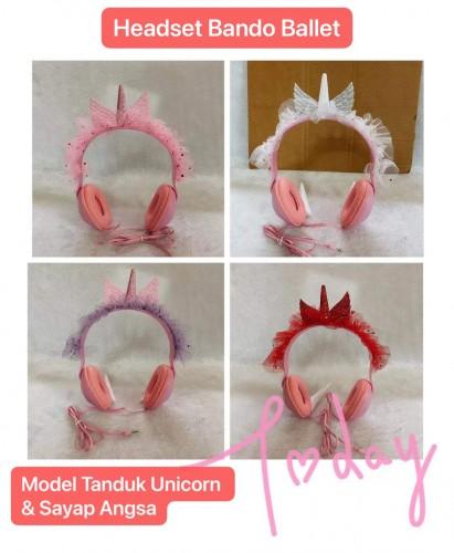 HGM-018 Headset Bando Angsa Wings Tanduk Unicorn Karakter /  Headphone Kabel Kids Lucu Untuk Anak Cocok Earphone Kado Hadiah
