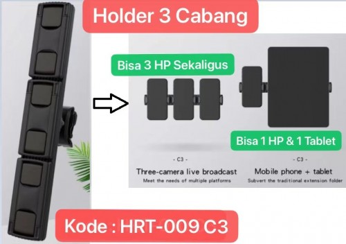 HRT-009 C3 Universal Dudukan HP Bracket Clip Mount Holder Clamp Pad Stand Mobile Tripod Ipad 360D Berdiri / Tidur untuk Live Video Streaming Tiktok