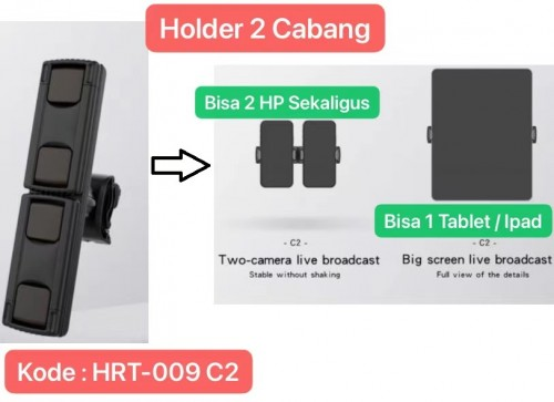 HRT-009 C2 Universal Dudukan HP Bracket Clip Mount Holder Clamp Pad Stand Mobile for Tripod Tablet 360 Derajat Live