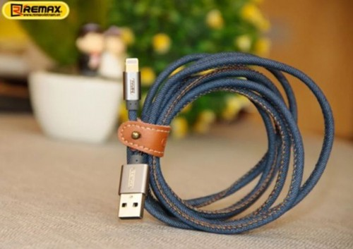 Kabel Lightning IPhone IPad REMAX Cowboy Jeans Braided Charge Data RC-096i 120CM 6954851276999