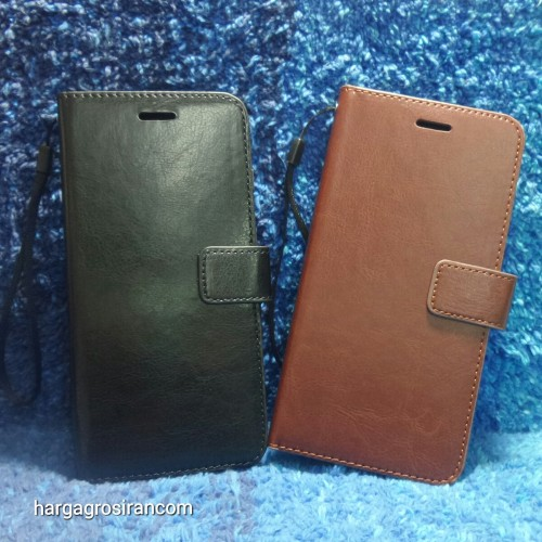 Iphone 8 Plus / 7 Plus - Sarung Kulit FS Leather Case Blue Moon Ada Kancing dan Pinggiran Jahitan