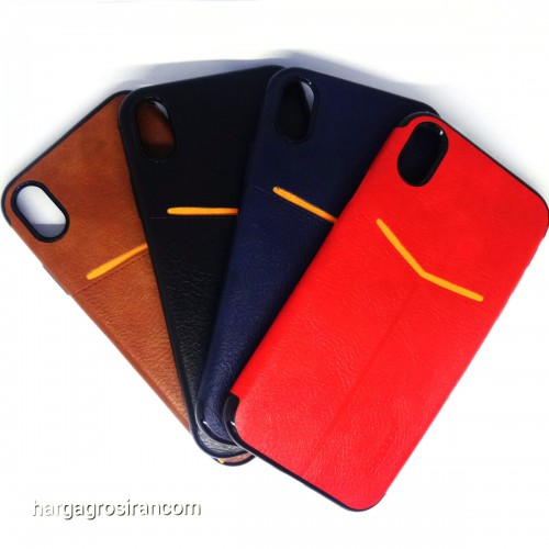 Iphone XR - Elegan Leather Back Case - Silikon Kulit Design Simple dan Stylish Cover Ver.5
