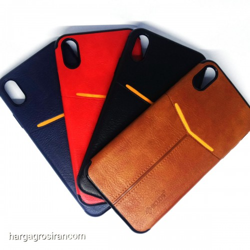 Iphone XS Max - Elegan Leather Back Case - Silikon Kulit Design Simple dan Stylish Cover Ver.5