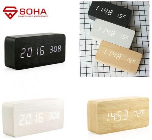 JD-03 Jam Meja Motif Kayu Digital Led Weker / Desain Wood Alarm LED Clock Waker Suhu temperature date Tanggal Jam Kerja
