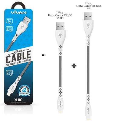 Kabel Data Vivan XL100 2.4A -  2 IN 1 Data Cable Charger For Iphone 5/ 5S / 6 / 6S