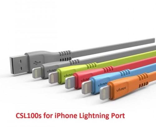 Kabel Charger Vivan Iphone 5 - USB Warna 1 Meter - Gepeng CSL100 / CSL100S Toples