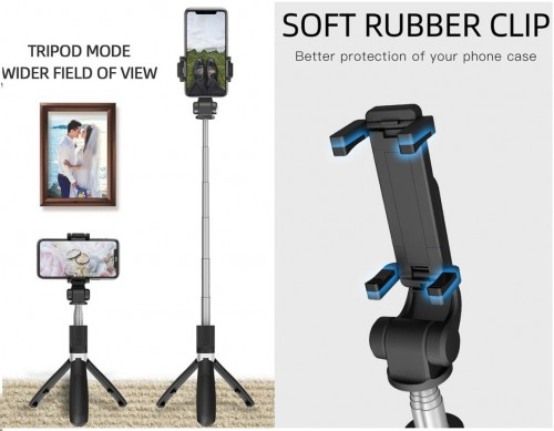 L01 Tongsis Bluetooth + Tripod Mini + Remote Shutter Bluetooth Monopods Selfie Stick Expandable