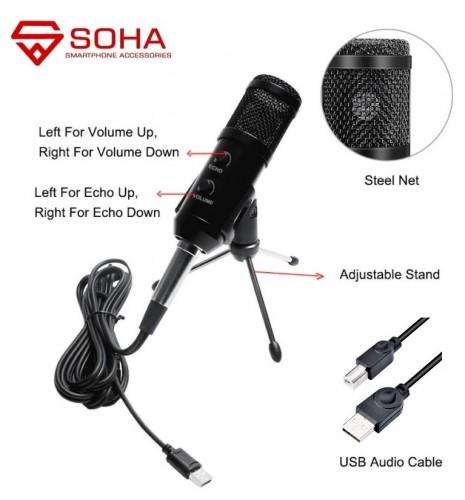 MIC-011 MIC USB Condenser Microphone Professionnal Upgraded BM-900 Karaoke Radio Video Podcast Youtube Recording Mikrofon Studio Kondensor