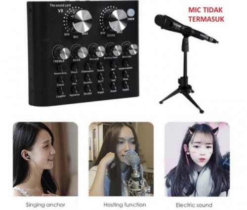 Mixer Audio USB External Sound card V8s Plus Bluetooth Versi Baru Live Broadcast Microphone Headset