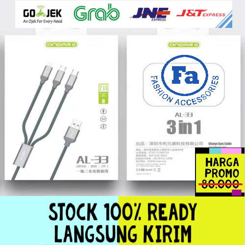 ONDA AL-33 Kabel 3 In 1 Fast Charging 2.1A 120cm Data USB Quality Trusted Bahan Tali Sepatu STRDY