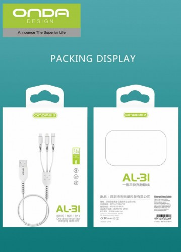 ONDA AL-31 Kabel 3 In 1 Fast Charging 2.4A 120cm Data USB Quality Trusted Micro Type C Lightning jadi 1 Kabel