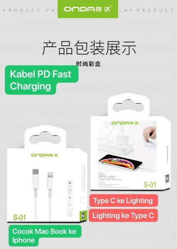 Onda S-01 Kabel USB Type C Ke Lightning / Iphone Kabel Charger iPhone PD Fast Charging