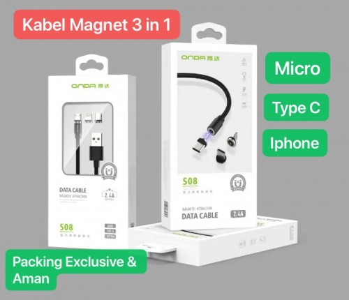 Onda S-08 Kabel Charger Magnetic 3In1 For iPhone , MiCro ,Tipe C Multi LED Quick Charge Magnet