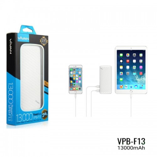 Powerbank Vivan VPB-F13 13.000 Mah - Power Bank 2 USB Ports 2.4A