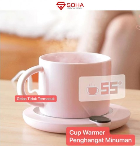 PG-02 Tatakan Portabel Penghangat Minuman Gelas Hangat Pemanas Mug Kopi Cangkir Elektrik Self Heating Mug Cup Warmer Susu Teh Air