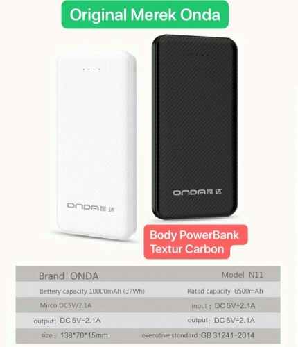 Power Bank Onda N-11 10.000 Mah - Design Slim Tipis Motif Carbon 2 Output Fast Charging 2.1A STRDY