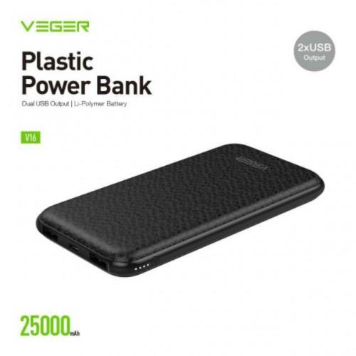 Power Bank VEGER 25000mAh V16 Slim 2 Port USB Output Original