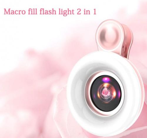 RGS-003 Lensa Kamera Universal Use 3 in 1 + Ring Light Lampu Recharge Able Hasil Macro Lens Camera Fokus dan Jernih