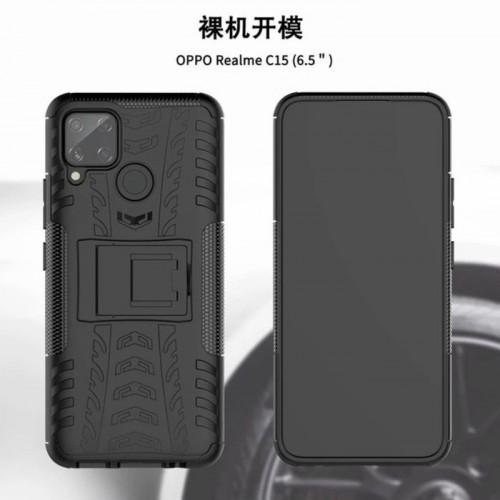 Realme C15 Case Melindung Kamera Dazzle Rugged Armor Stand / Hybrid Shockproof Cover