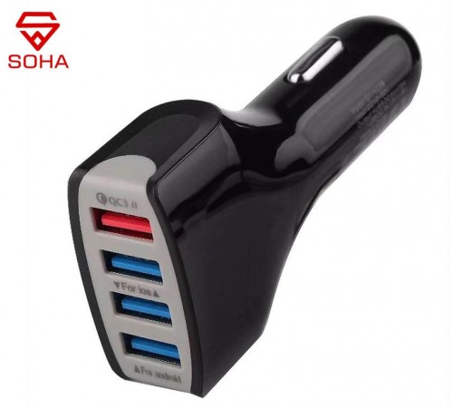 SOHA SVM-001 Saver Mobil High Quality 4 Port USB Car Charger 3A Quick Charge Total 7 Ampere