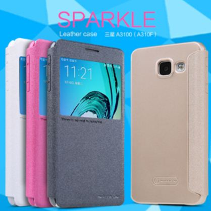 Sarung Sparkle Leather Case Samsung Galaxy A3 2016 / A310