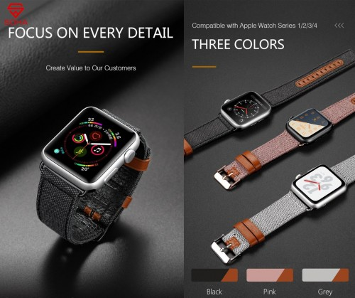 STA-007 Strap iWatch 1/2/3/4 38mm - 40mm & 42mm - 44mm Dux Ducis Watch Band Leather Model Jeans